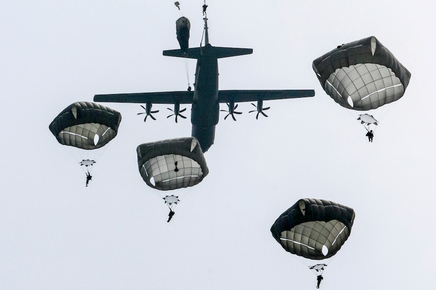 U.S., French and German paratroopers jump into Sainte Mere Eglise
