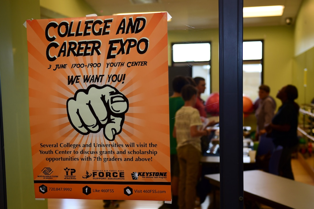 A College and Career Expo poster hangs on a window June 3, 2016, at the youth center on Buckley AFB, Colo. The expo provided Buckley AFB youth with the opportunity to interact with future employers and explore options for after high school. (U.S. Air Force photo by Airman 1st Class Gabrielle Spradling/Released)