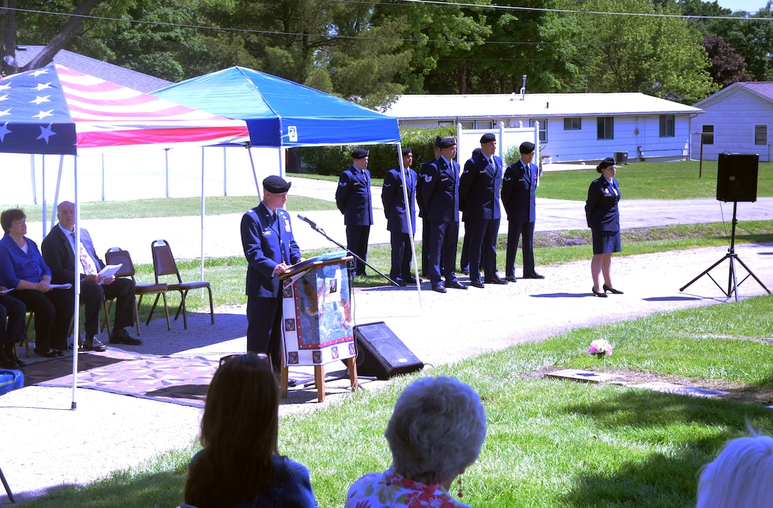 U.S. Air Force Lt. Col. Jeffrey Carter, the 509th Security Forces Squadron commander, speaks to attendees during the Whiteman Wreath Laying Ceremony at Memorial Park Cemetery in Sedalia, Mo., May 21, 2016. The annual event honors 2nd Lt. George Whiteman, a Sedalia native and the namesake of Whiteman Air Force Base, who was killed at Bellows Field, Hawaii, during the Japanese attack on Dec. 7, 1941. (U.S. Air Force photo by 2nd Lt. Matthew Van Wagenen)