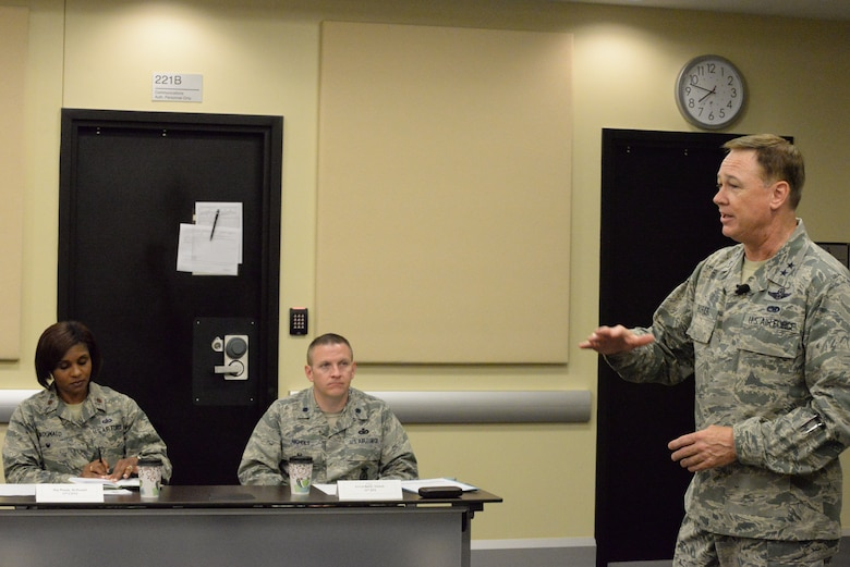 Air Force District of Washington Commander Maj. Gen. Darryl Burke gives opening remarks during the 2016 AFDW Commander's Course at Joint Base Andrews, Md., June 6, 2016.  The four-day event provides opportunities for incoming commanders to familiarize themselves with the unique issues of commanding a unit in the National Capital Region.