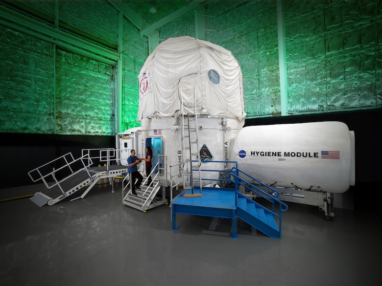 The Human Exploration Research Analog (HERA) is shown here at the Johnson Space Center, Texas. This modular three-story habitat was designed and created through a series of university competitions. The HERA serves as an analog for simulation of isolation, confinement and remote conditions of mission exploration scenarios. Westwood Middle School students in Manchester recently spoke with crew members on the HERA X mission by phone, which was made possible by the AEDC STEM Center coordinator, Jerry Matty. (NASA Photo)
