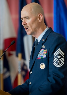 Chief Master Sergeant Ronald C. Anderson, the 12th command chief master sergeant for the Air National Guard, addresses the audience during his welcome ceremony June 2, 2016, at Joint Base Andrews, Md. (U.S. Air National Guard photo by Master Sgt. Marvin R. Preston/Released)