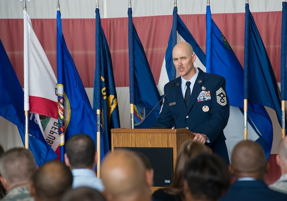Chief Master Sgt. Ronald C. Anderson, the 12th command chief master sergeant for the Air National Guard, addresses the audience during his welcome ceremony June 2, 2016, at Joint Base Andrews, Md. (U.S. Air National Guard photo by Staff Sgt. John E. Hillier/Released)