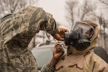 Members of the Vermont Air National Guard 158th Civil Engineer Squadron conduct hazardous material management training during an exercise at the Burlington International Airport, South Burlington, Vt., March 4, 2016. This exercise allows Airmen to familiarize themselves with equipment and procedures used in hazardous material management. (U.S. Air National Guard photo by Airman 1st Class Jeffrey Tatro)