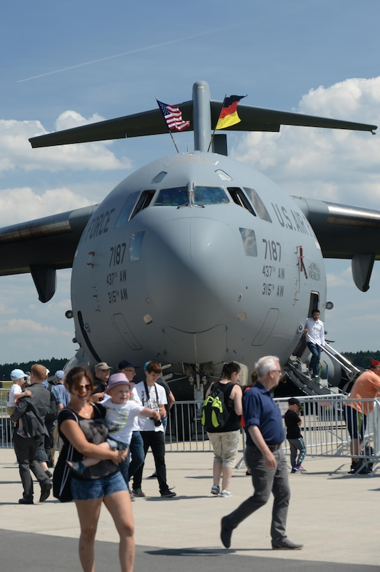 "A C-17 Globemaster III ""Spirit of Berlin"", assigned to the 315th Airlift Wing, Joint Base Charleston, is parked for static display at the Berlin Air and Trade Show, Berlin, June 3, 2016. The Spirit of Berlin was dedicated by former U.S. President Bill Clinton in 1998 on the 50th anniversary of the Berlin Airlift. (U.S. Air Force photo/Staff Sgt. Emerson Nuñez)"