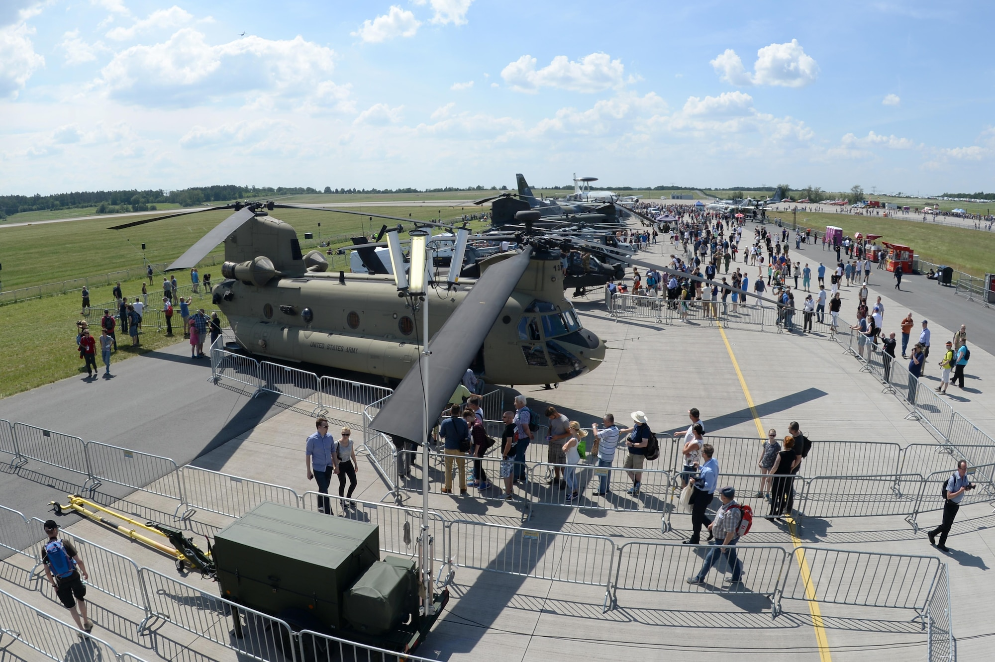 A CH-47 Chinook from Ansbach is parked for static display at the Berlin Air and Trade Show, Berlin, June 3, 2016. The Department of Defense participates in air and trade exhibitions to provide honest, objective and candid portraits of the capabilities of the U.S. aircraft presented, which improves international understanding between air crews. (U.S. Air Force photo/Staff Sgt. Emerson Nuñez)