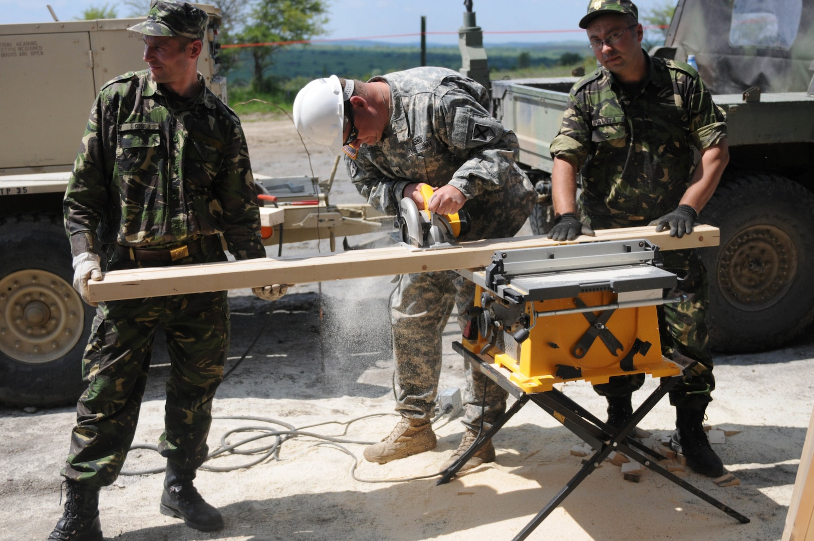 Cpl. Gigi Done, engineer, 10th Engineer Brigade, Romanian Land Forces; Sgt. Steve Reece, electrician, 877th Engineer Battalion Alabama Army National Guard and Cpl. Baluta, engineer, 10th Engineer Brigade, Romanian Land Forces, work together to cut boards used for building a multipurpose building, May 22, 2016, in Cincu, Romania. The building is on Cincu Training Range and the partnership between the U.S. and Romanian forces is part of Resolute Castle 16, a joint training operation between U.S. and NATO forces focused on building strong partnerships among NATO allies.