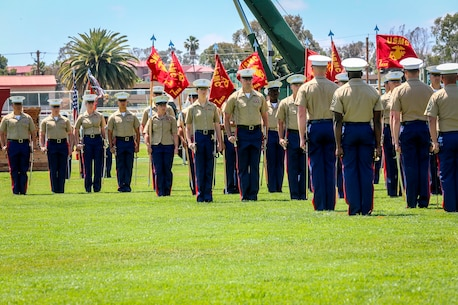 U.S. Marines with the 1st Marine Logistics Group gather for a change of command ceremony in recognition of the 7th Engineer Support Battalion (ESB). The change of command for 7th ESB, May 26th 2016, Camp Pendleton, Calif., represents a military tradition that represents the transfer of authority and responsibility of a unit from one commanding officer to another. (U.S. Marine Corps photo by LCpl. Salmineo Sherman Jr. 1st MLG Combat Camera/released)