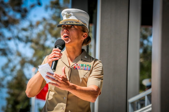 U.S. Marine Corps Lt. Col. Jennifer A. Nash on comming commander for 7th Engineer Support Battalion (ESB) 1st Marine Logistics Group speaks about her vision for the unit. The change of command for 7th ESB, May 26th 2016, Camp Pendleton, Calif., represents a military tradition that represents the transfer of authority and responsibility of a unit from one commanding officer to another. (U.S. Marine Corps photo by LCpl. Salmineo Sherman Jr. 1st MLG Combat Camera/released)