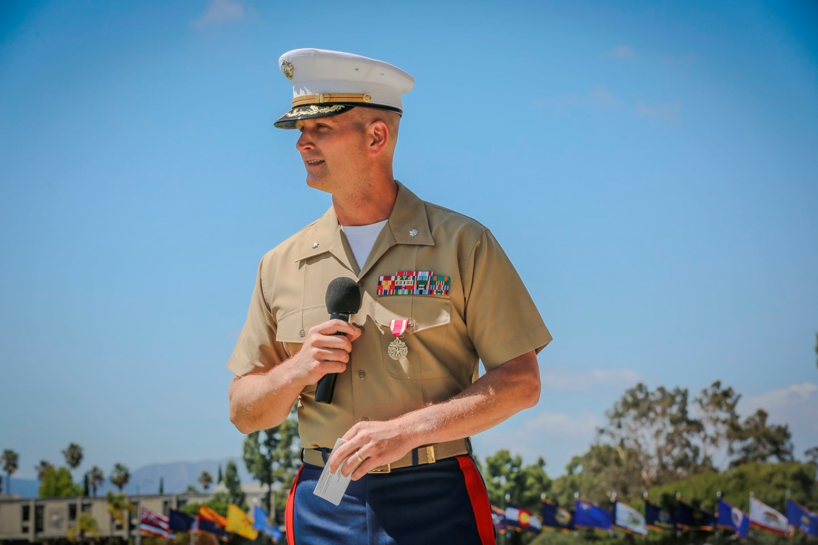 U.S. Marine Corps Lt. Col. Eric. J. Penrod off going commander for 7th Engineer Support Battalion (ESB) 1st Marine Logistics Group speaks about his time with the unit. The change of command for 7th ESB, May 26th 2016, Camp Pendleton, Calif., represents a military tradition that represents the transfer of authority and responsibility of a unit from one commanding officer to another. (U.S. Marine Corps photo by LCpl. Salmineo Sherman Jr. 1st MLG Combat Camera/released)