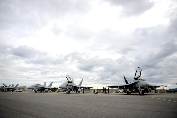 U.S. Marine Corps F-18 Hornet assigned to the Fixed Marine All-Weather Fighter Attack Squadron 242, Marine Corps Air Station Iwakuni, Japan, are prepared for flying operations June 7, 2016, during RED FLAG-Alaska (RF-A) 16-2, at Eielson Air Force Base, Alaska. RF-A enables enables joint and international units to sharpen their combat skills by flying simulated combat sorties in a realistic threat environment. (U.S. Air Force photo by Tech. Sgt. Steven R. Doty)