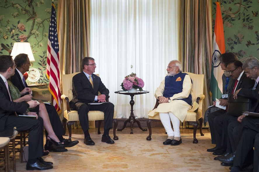 Defense Secretary Ash Carter meets with Indian Prime Minister Narendra Modi at the Blair House in Washington D.C.