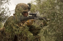 Pfc. Alexander L. Lay, a rifleman, posts security for movements from building to building during Exercise Predator Strike at Cultana Training Area, South Australia, Australia, June 5, 2016. Predator Strike, a yearly exercise taken place in Australia with Marine Rotational Force – Darwin, allows Marines to enhance their skills and train with the Australian Defence Force. Lay, from Fennimore, Wisconsin, is with Company C, 1st Battalion, 1st Marine Regiment, MRF-D.