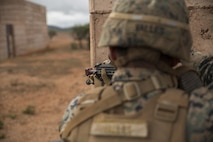 A Marine with Company C, 1st Battalion, 1st Marine Regiment, posts security during Exercise Predator Strike at Cultana Training Area, South Australia, Australia, June 5, 2016. Predator Strike, a yearly exercise taken place in Australia with Marine Rotational Force – Darwin, allows Marines to enhance their skills and train with the Australian Defence Force.