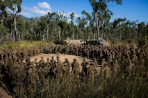 Lt. Col. Jim McGann, Commanding Officer of Battle Group Waratah, 8th Brigade, thanks U.S. Marines, members of the Australian Army, and members of the Japan Ground Self-Defense Force, for their training during Exercise Southern Jackaroo at Shoalwater Bay, Queensland, Australia, May 26, 2016. Exercise Southern Jackaroo allowed combined military services to train together and learn from each other during Marine Rotational Force – Darwin (MRF-D). MRF-D is a six-month deployment of Marines into Darwin, Australia, where they will conduct exercises and train with the Australian Defence Forces, strengthening the U.S.-Australia alliance. The Marines are with 1st Battalion, 1st Marine Regiment, MRF-D. The Australians soldiers are with Battle Group Waratah, 8th Brigade.