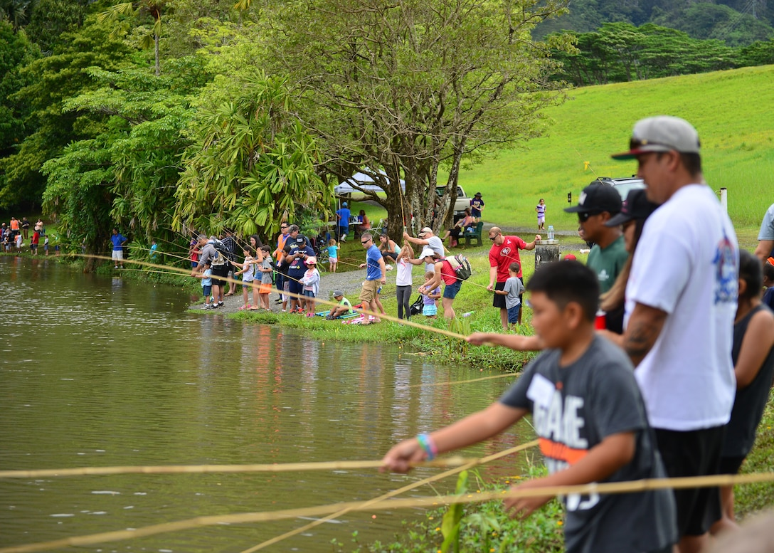 More than 150 Airmen and their children from Joint Base Pearl Harbor-Hickam attended the 17th Annual Friends of Hickam Keiki Fishing Tournament at the Ho`omaluhia Botanical Gardens in Kaneohe, Hawaii, June 2, 2016. The Friends of Hickam is a non-profit organization composed of civic and business leaders in the local community who are interested in showing support for the Air Force in Hawaii. (U.S. Air Force photo by Tech. Sgt. Aaron Oelrich/Released)