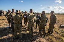 U.S. Marines with 1st Battalion, 1st Marine Regiment, members of the Australian Army with Battle Group Waratah, 8th Brigade, and members of the Japan Ground Self-Defense Force discuss future plans for Exercise Southern Jackaroo at Shoalwater Bay, Queensland, Australia, May 18, 2016. Exercise Southern Jackaroo is a combined training opportunity during Marine Rotational Force – Darwin (MRF-D). MRF-D is a six-month deployment of Marines into Darwin, Australia, where they will conduct exercises and train with the Australian Defence Forces, strengthening the U.S.-Australia alliance.