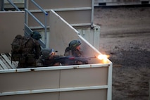 Members of the Australian Army fire at a simulated enemy during urban warfare training at Shoalwater Bay, Queensland, Australia, May 24, 2016. The urban warfare training, part of Exercise Southern Jackaroo, allowed combined military forces to train, teach, and learn from each other in an urban environment during Marine Rotational Force – Darwin (MRF-D). MRF-D is a six-month deployment of Marines into Darwin, Australia, where they will conduct exercises and train with the Australian Defence Forces, strengthening the U.S.-Australia alliance. The Australian soldiers are with Battle Group Waratah, 8th Brigade.