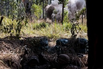 U.S. Marines with 1st Battalion, 1st Marine Regiment, detonate an M18 Claymore mine during a simulated attack at Shoalwater Bay, Queensland, Australia, May 29, 2016. The simulated attack, part of Exercise Southern Jackaroo, increased proficiency in defensive actions against an oncoming enemy force during Marine Rotational Force – Darwin (MRF-D). MRF-D is a six-month deployment of Marines into Darwin, Australia, where they will conduct exercises and train with the Australian Defence Forces, strengthening the U.S.-Australia alliance.