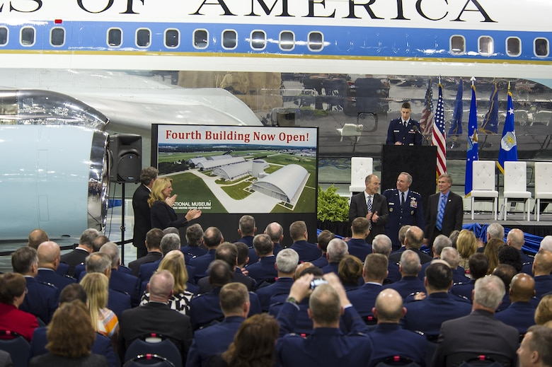 DAYTON, Ohio -- The fourth building grand opening ceremony for the new 224,000 square foot building was held on June 7, 2016 at the National Museum of the U.S. Air Force. (From left to right) Congressman Mike Turner, Secretary of the Air Force Deborah Lee James, Air Force Museum Foundation, Inc. Chairman, Board of Trustees, Philip L. Soucy, Chief of Staff of the U.S. Air Force Gen. Mark A. Welsh III, and the Director of the National Museum of the U.S. Air Force, Lt. Gen.(Ret.) Jack Hudson. (U.S Air Force photo by Ken LaRock)