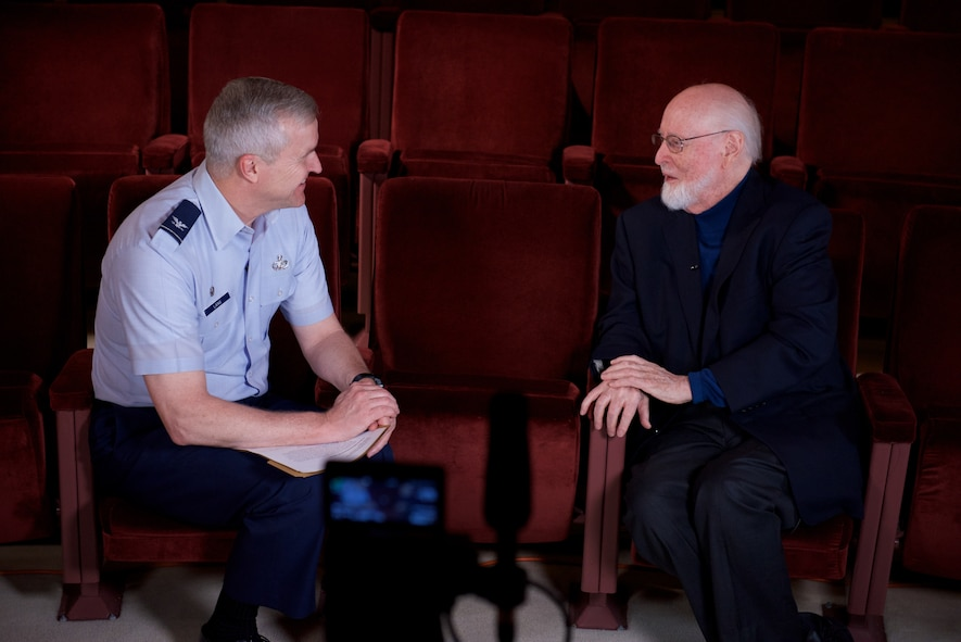 Col. Larry Lang, commander of the U.S. Air Force Band, interviews legendary conductor and composer John Williams about his time in the U. S. Air Force. Williams served as a pianist and brass player, arranging and writing as a secondary duty, though extensively. (U.S. Air Force Photo/CMSgt Bob Kamholz)