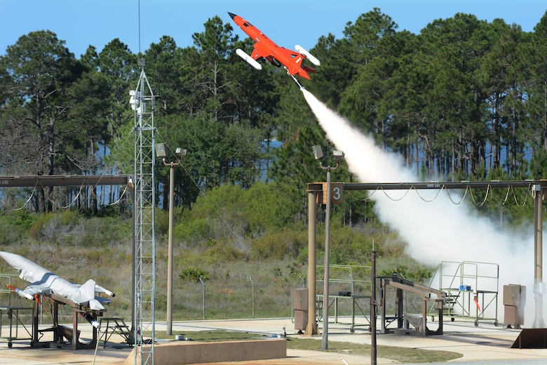 An unmanned drone takes off during a training exercise to be shot down by 115th Fighter Wing pilots with live missiles at Tyndall Air force Base, Fla., May 11, 2016. The 115 FW travelled to Tyndall AFB for a training exercise called Combat Archer which allowed pilots, maintainers and operations Airmen an opportunity to train with live missiles. (U.S. Air National Guard Photo by Senior Airman Kyle Russell)