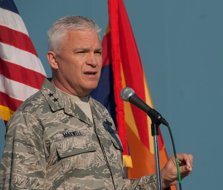 Maj. Gen. Edward Maxwell, Arizona Air National Guard commander, delivers remarks to the 162nd Wing during the annual awards ceremony at the Tucson International Airport June 5, 2016. Thank you for being part of the team, thank you for serving, thank you for being part of the premiere wing in the Air National Guard, said Maxwell. The ceremony included individual and team awards from the Wing, community, major command and Air National Guard. (U.S. Air National Guard photo by Staff Sgt. Greg Ferreira)
