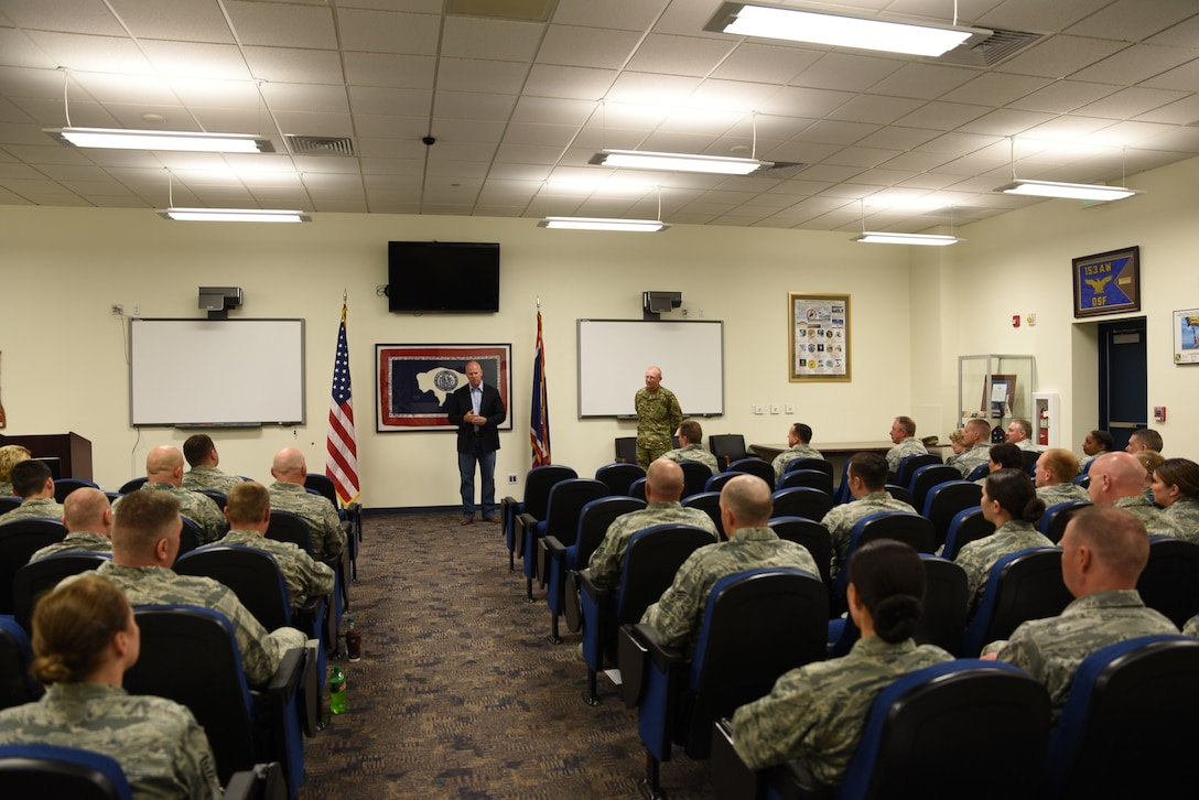 Gov. Matt Mead, Wyoming governor, speaks to deploying airmen from the 153rd Airlift Wing, Wyoming Air National Guard June 5, 2016, at Cheyenne Air National Guard Base in Cheyenne, Wyoming. Mead used this opportunity as a chance to let those airmen know their sacrifices are appreciated by the state of Wyoming and its citizens. (U.S. Air National Guard photo by Senior Airman Nichole Grady).