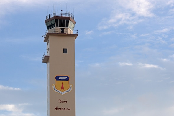 Andersen Air Force Base's tower provides a 360 degree view of surrounding airspace. Air traffic controllers are responsible for managing the flow of aircraft through all aspects of their flight and ensuring the safety and efficiency of air traffic on the ground and in the air. (U.S. Air Force photo by Airman 1st Class Jacob Skovo)