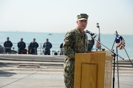 160605-N-XP344-030 MANAMA, Bahrain (June 5, 2016) Rear Adm. Eugene Black, deputy commander, U.S. Naval Forces Central Command and U.S. 5th Fleet, speaks to Sailors at a Battle of Midway commemoration ceremony held at U.S. Naval Support Activity, Bahrain in front of the coastal patrol ship USS Monsoon (PC 4). The ceremony commemorated the Sailors and Marines lost during the Battle of Midway.
