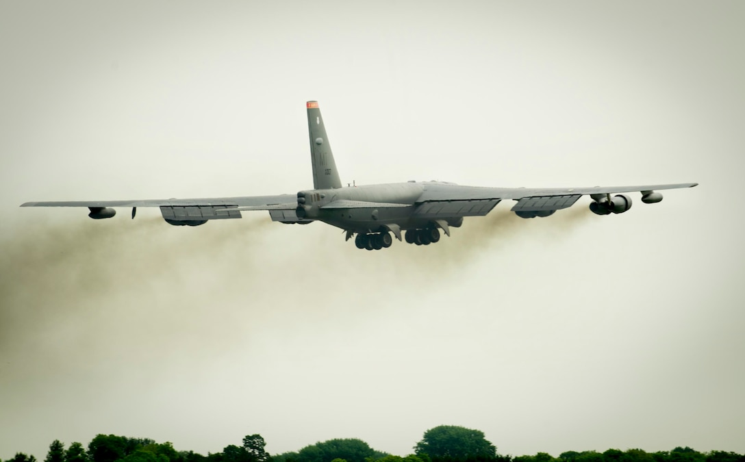 A B-52H Stratofortress from Minot Air Force Base, N.D., takes off from Royal Air Force Fairford, United Kingdom, June 7, 2016. Over the next 10 days, the aircrew will be flying more missions in support of BALTOPS 16, along with Saber Strike 16. In addition, the B-52 will be making its appearance in several airshows throughout countries such as Berin, Latvia, Lithuania and Estonia. (U.S. Air Force photo/Senior Airman Sahara L. Fales)