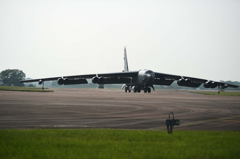 A B-52H Stratofortress from Minot Air Force Base, N.D., taxis in to park at RAF Fairford, United Kingdom, June 7, 2016, after flying a training sortie in support of exercise BALTOPS 16. BALTOPS is an ongoing cooperative training effort that has participants from approximately 17 different nations throughout the region. It allows the participants to demonstrate their own unique roles in contributing to regional and global stability and to train for deployments in support of multinational contingency operations around the world. (U.S. Air Force photo by Airman 1st Class Zachary Bumpus)