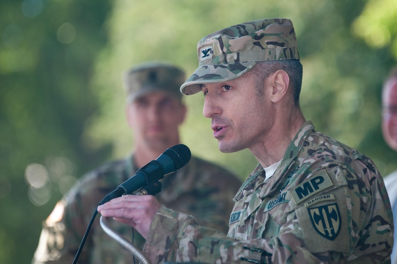 Col. Arturo Horton, commander of the 18th Military Police Brigade from Wiesbaden, Germany, speaks to the soldiers of the seven allied nations participating in Exercise Anakonda 2016.