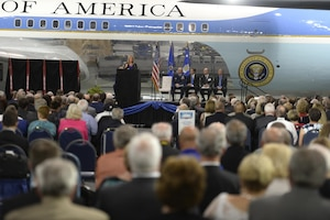 DAYTON, Ohio -- The fourth building grand opening ceremony for the new 224,000 square foot building was held on June 7, 2016 at the National Museum of the U.S. Air Force. Secretary of the Air Force Deborah Lee James gave her comments about the museum's expansion. (U.S Air Force photo by Ken LaRock)