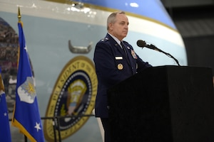 DAYTON, Ohio -- The fourth building grand opening ceremony for the new 224,000 square foot building was held on June 7, 2016 at the National Museum of the U.S. Air Force. Chief of Staff of the U.S. Air Force Gen. Mark A. Welsh III gave his comments about the museum's expansion. (U.S Air Force photo by Scott Ash)