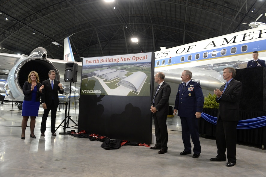 DAYTON, Ohio -- The fourth building grand opening ceremony for the new 224,000 square foot building was held on June 7, 2016 at the National Museum of the U.S. Air Force. (From left to right) Secretary of the Air Force Deborah Lee James, Congressman Mike Turner, Air Force Museum Foundation, Inc. Chairman, Board of Trustees, Philip L. Soucy, Chief of Staff of the U.S. Air Force Gen. Mark A. Welsh III, and the Director of the National Museum of the U.S. Air Force, Lt. Gen.(Ret.) Jack Hudson. (U.S Air Force photo by Scott Ash)