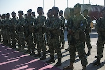 Timorese soldiers join with U.S. Marines and Sailors with Task Force Koa Moana for the opening ceremony of Exercise Crocodilo 16, June 6, 2016, at Hera Naval Base, Timor Leste. This is the fourth iteration of the multi-national, bilateral exercise designed to increase interoperability and relations through sharing infantry, law enforcement, combat lifesaving and engineering skills. The Marines involved are with Task Force Koa Moana, which is comprised of Marines from I and III Marine Expeditionary Forces.