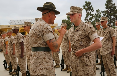 A drill instructor of Echo Company, 2nd Battalion, quizzes a recruit on his knowledge during a series commander inspection at Marine Corps Recruit Depot San Diego, June 6. Drill instructors test recruits to see how much knowledge they've retained thus far in recruit training. This is the second of four inspections recruits experience during recruit training. Annually, more than 17,000 makes recruited from the Western Recruiting Region are trained at MCRD San Diego. Echo Company is scheduled to graduate July 8.