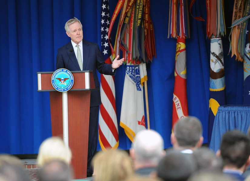 Navy Secretary Ray Mabus speaks during the Defense Department's LGBT Pride Month Event celebration at the Pentagon courtyard, June 8, 2016. The event is an opportunity for the DoD community to come together and celebrate the diversity of the American people in a festive, affirming atmosphere. DoD photo by Marv Lynchard
