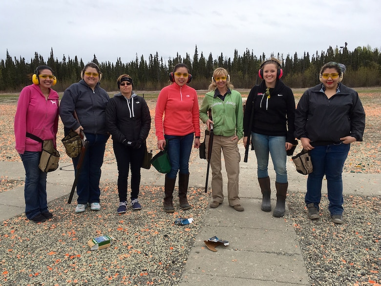 Women of Joint Base Elmendorf-Richardson attend their first introduction to skeet and trap class offered by the Outdoor Adventure Program as part of the Women in the Wilderness program. No experience is needed to attend trips or classes. (Courtesy photo)
