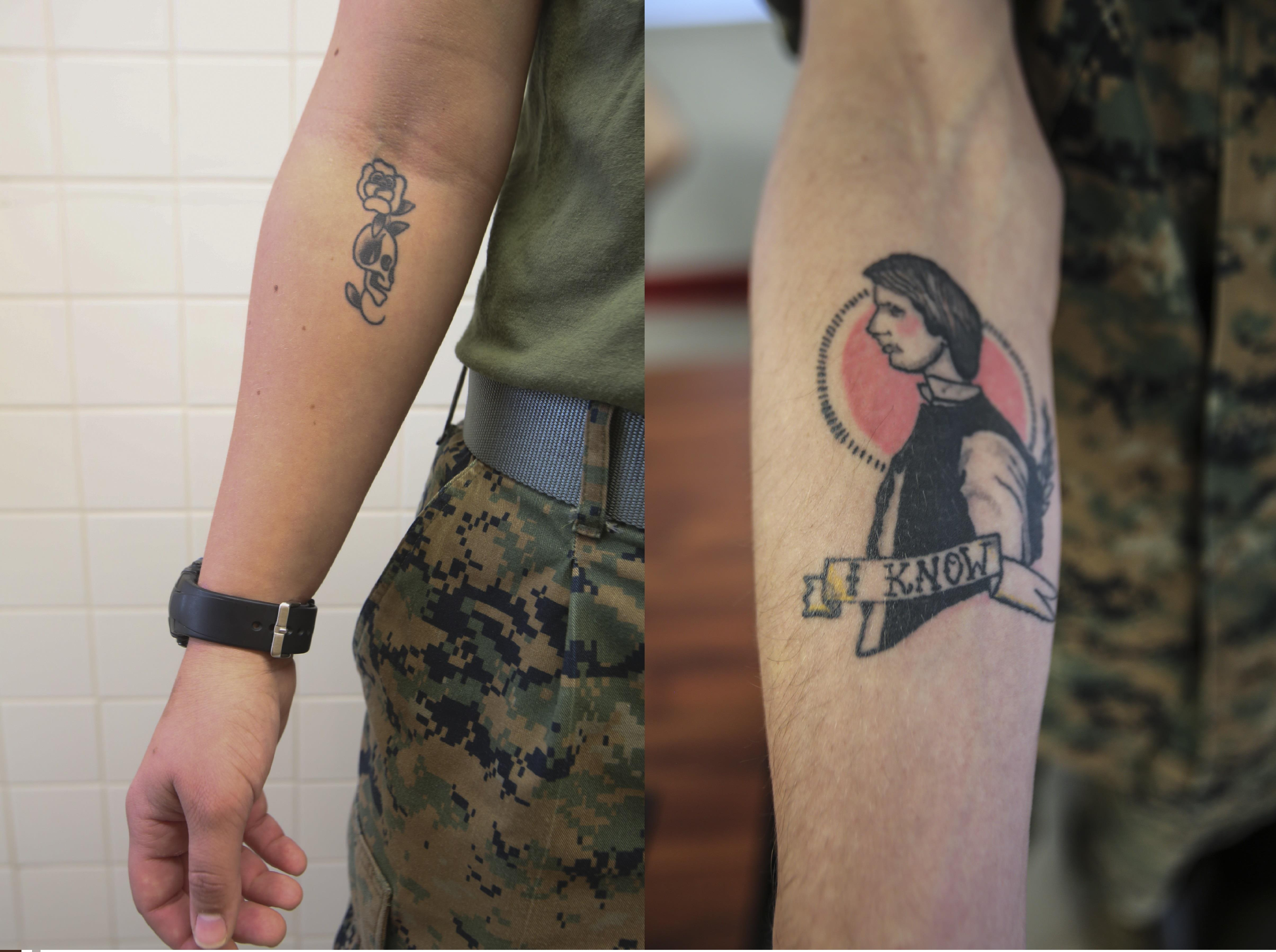Right to bare arms marine corps new tattoo policy ii for Army tattoo policy wrist