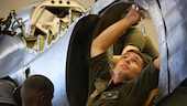 Cpl. Nicholas Stone performs maintenance on a AV-8B Harrier inside the Marine Attack Training Squadron 203 hangar at Marine Corps Air Station Cherry Point, North Carolina, June 8, 2016. During the past three years, VMAT-203 has trained more than 130 AV-8B pilots and 2,000 AV-8B maintenance personnel. Within that time period, the squadron has flown over 12,000 flight hours, participated in four deployments for instructor and student training and received the Commandant's Aviation Efficiency Award. Stone is a fixed wing aircraft airframe mechanic with the Squadron.