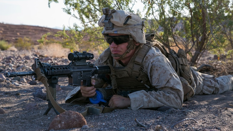 Lance Cpl. Matthew Meyers, rifleman, 3rd Battalion, 2nd Marine Regiment, provides security during a defensive exercise as part of the final exercise of Integrated Training Exercise 3-16 in the Blacktop Training Area at Marine Corps Air Ground Combat Center, Twentynine Palms, California, June 2, 2016.