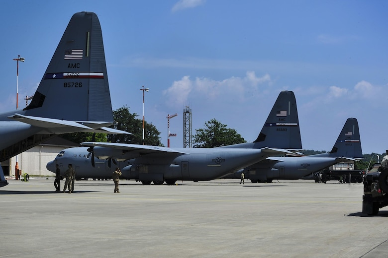 Dyess Air Force Base airframes sit on the flightline during a refueling June 9, 2016 at Ramstein Air Base, Germany. The aircraft refueled before returning to Poland to participate in this year's Exercise Swift Response 2016. (U.S. Air Force photo/Senior Airman Larissa Greatwood)