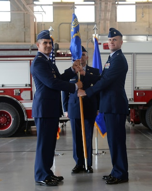 Lt. Col. Bill Notbohm, right, 47th Civil Engineer Squadron commander, poses for a photo with Col. Eric Shafa, 47th Mission Support Group commander, during a change of command at Laughlin Air Force Base, Texas, June 1, 2016. Notbohm is coming to Laughlin from his previous position where he served as the Assistant for Coalition Operations, Strategy, Plans and Capabilities in the Office of the Under Secretary of Defense for Policy, at the Pentagon, Washington, D.C.; as a major and a lieutenant colonel. (U.S. Air Force photo/Airman 1st Class Brandon May)