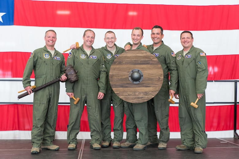 The winning team (from left) Major Ryan Rastedt, Captain Treff Wagner, Captain, Mike Doerer,, Master Sergeant Blake Meyer, Technical Sergeant Nick Kaufenberg and Master Sergeant Derek Fore.  (U.S. Air Force photo by Master Sgt. Eric Amidon)