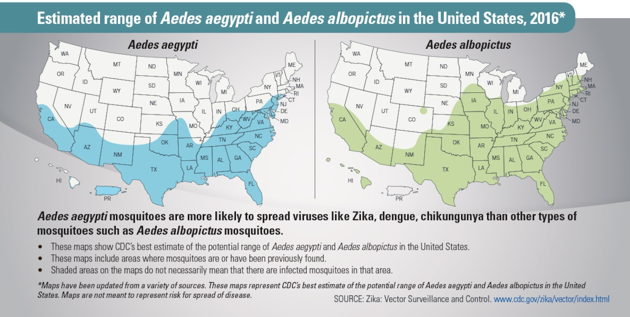 Estimated range of Aedes aegypti and Aedes albopictus in the United States, 2016. Centers for Disease Control graphic