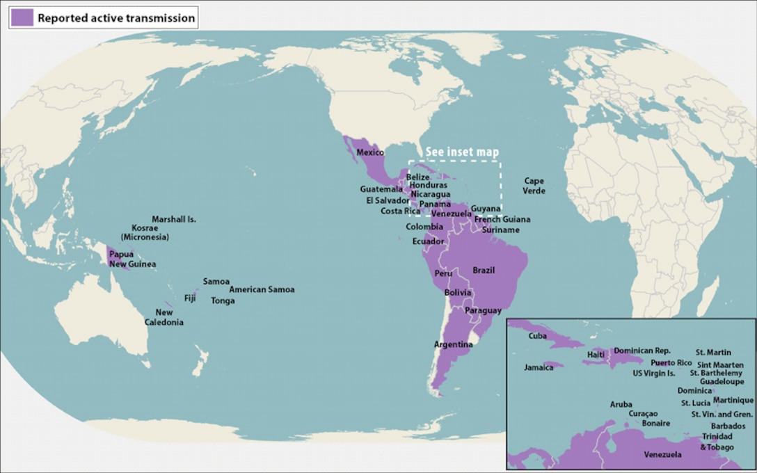All Countries & Territories with Active Zika Virus Transmission as of May 26, 2016. Centers for Disease Control graphic