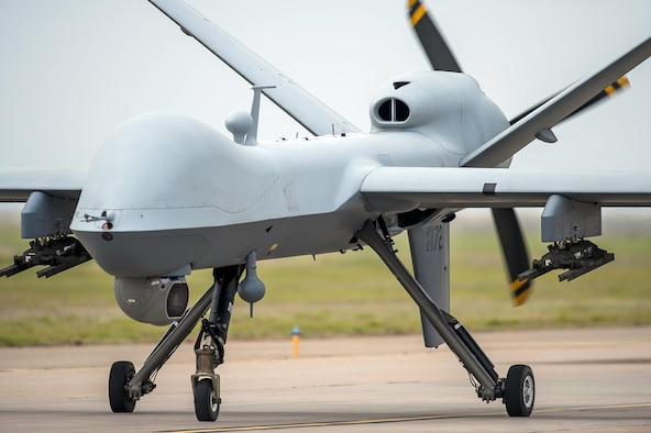 An Air Force Special Operations Command MQ-9 Reaper taxiing.