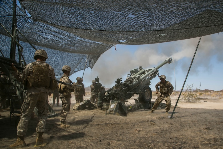 Marines with Battery C, 1st Battalion, 10th Marine Regiment, provide indirect fire with a M777 Howitzer during the final exercise of Integrated Training Exercise 3-16 in the Blacktop Training Area aboard Marine Corps Air Ground Combat Center, Twentynine Palms, Calif., June 1, 2016. (Official Marine Corps photo by Lance Cpl. Dave Flores/Released)